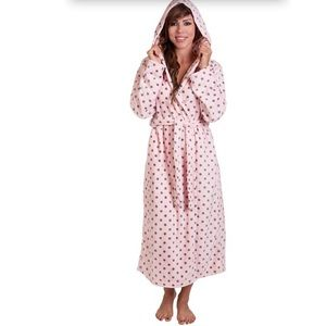 Other - Plus Size Light Pink & Gray Polka Dot Cozy Robe